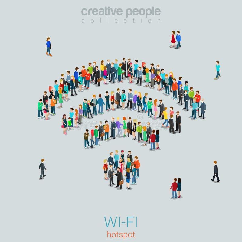 Свободный общественный радиотелеграф знака WiFi людей толпы вектора Точки доступа Wi-Fi иллюстрация штока