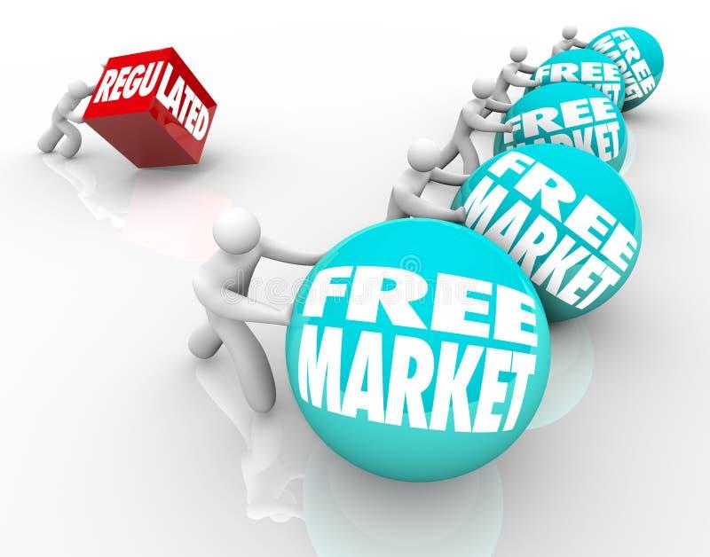 Свободный рынок против регулированной конкуренции недостатка отрегулировал шину иллюстрация вектора