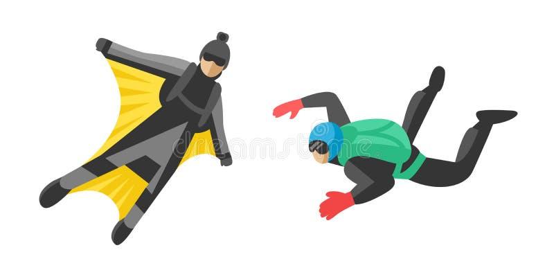 Свободы спорта parachutist человека Skydiver парашют иллюстрации вектора характера весьма плоский skydiving весьма падать иллюстрация вектора