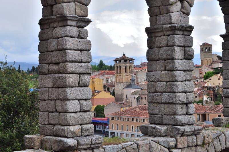 Своды мост-водовода Сеговии, Испании стоковое изображение