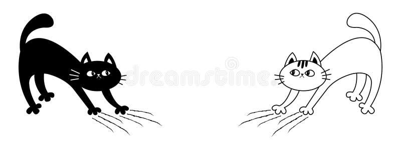 Свод кота установленный назад Царапать котенка След царапины Эскиз Doodle линейный r Милый смешной персонаж из мультфильма бесплатная иллюстрация