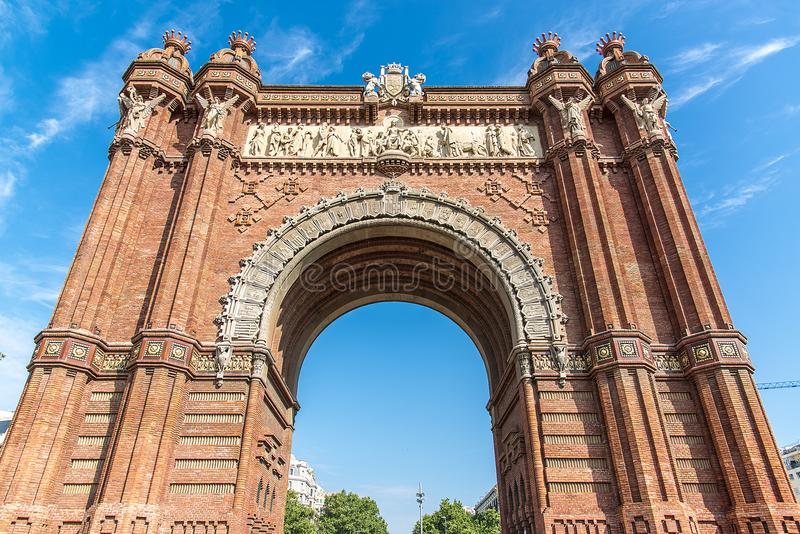 Свод триумфа Arco del Triunfo Барселоны, Испания стоковое фото