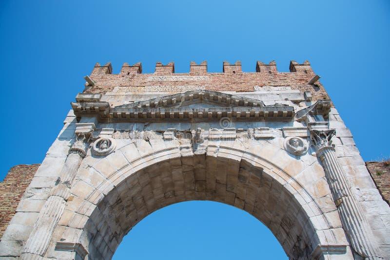 Свод Augustus - римский строб и исторический ориентир ориентир Римини, стоковые фото