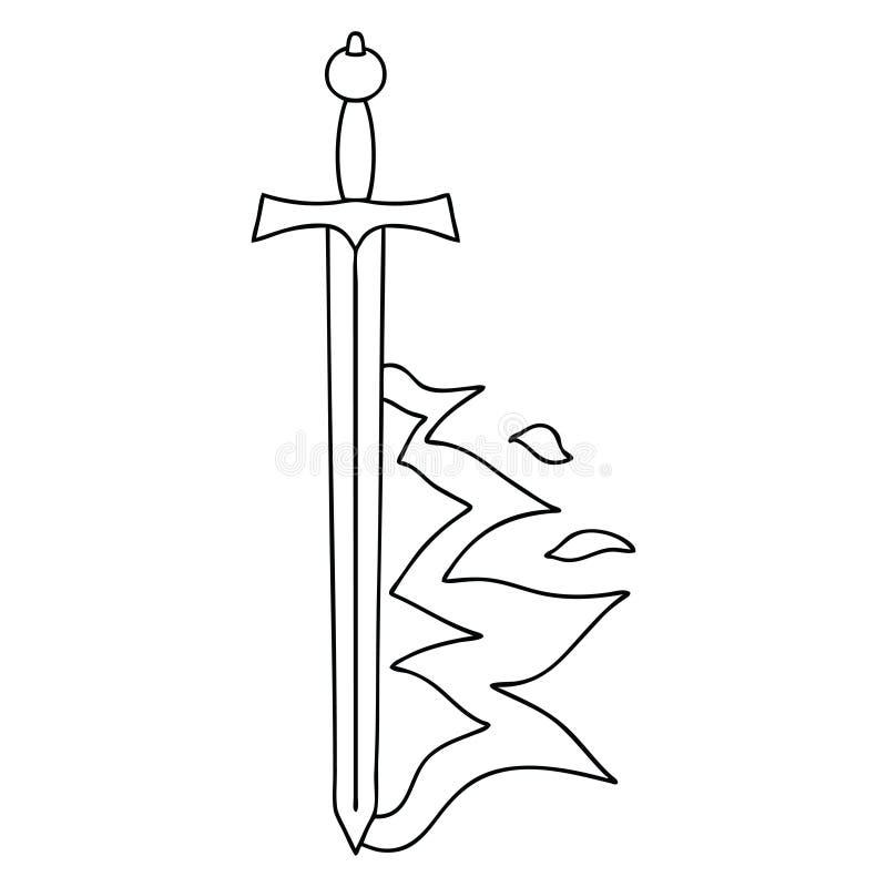 своеобразная линия шпага пылать мультфильма чертежа иллюстрация вектора