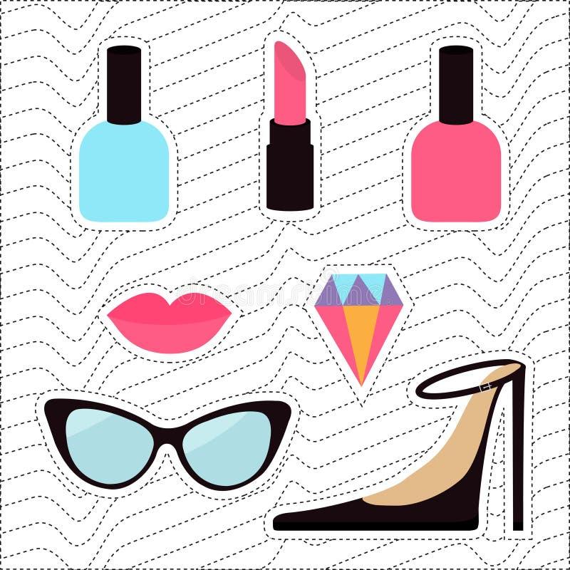 Своеобразный комплект значка заплаты стикера шаржа Штырь моды женщины Губная помада, самоцвет диаманта, ботинки, губы, солнечные  иллюстрация вектора