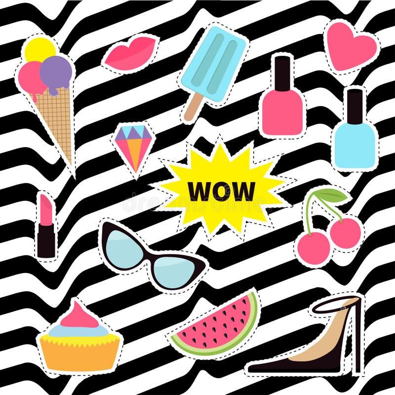 Своеобразный комплект значка заплаты стикера Штырь моды Губная помада, сердце, вау, пирожное, ботинки, мороженое, арбуз, губы, ви иллюстрация штока