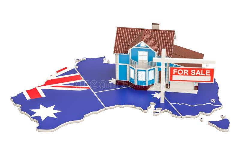 Свойство для продажи и рента в концепции Австралии, переводе 3D иллюстрация вектора