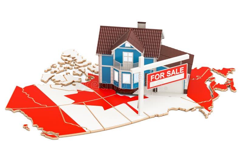 Свойство для продажи и рента в концепции Канады, переводе 3D иллюстрация штока