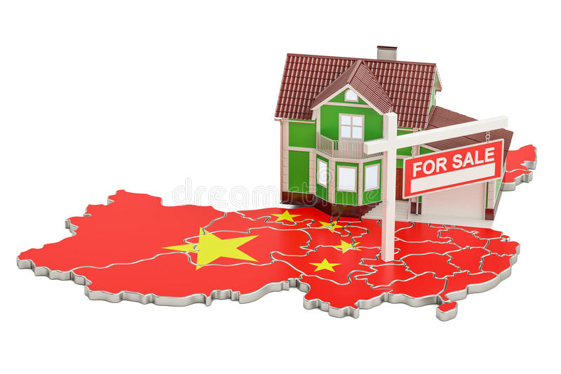 Свойство для продажи и рента в концепции Китая, переводе 3D иллюстрация штока
