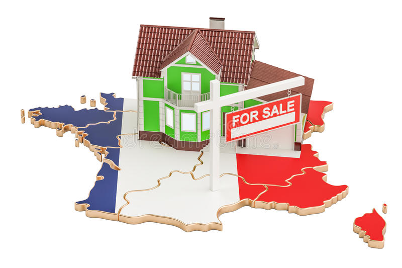Свойство для продажи и рента в концепции Франции, переводе 3D иллюстрация вектора