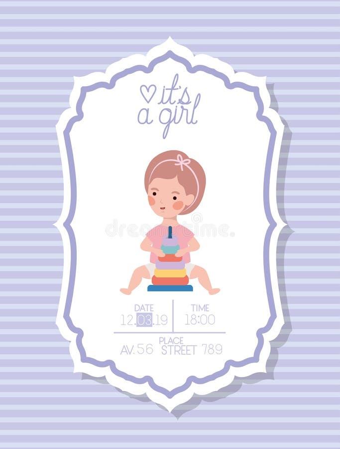 Свой карта детского душа девушки с маленьким ребенком и игрушкой кучи колец иллюстрация вектора