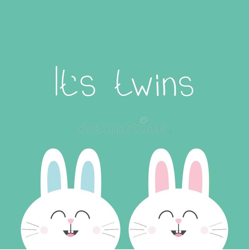 Свой кролик зайчика близнецов 2 милый двойной Значок семьи пар зайцев головной Набор символов милого шаржа смешной усмехаясь Зеле иллюстрация вектора