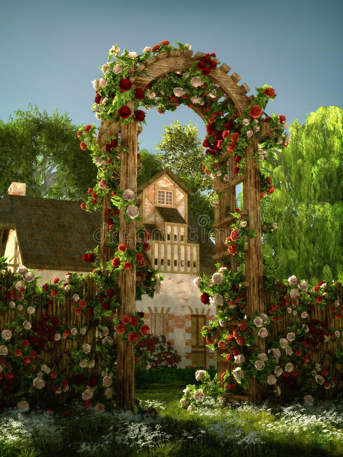 Свод роз, 3d CG бесплатная иллюстрация