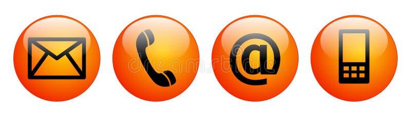Свяжитесь мы апельсин красного цвета кнопок сети иллюстрация штока