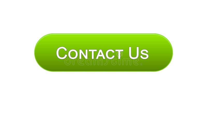 Свяжитесь мы деловое сообщество зеленого цвета кнопки интерфейса сети, помощь иллюстрация вектора