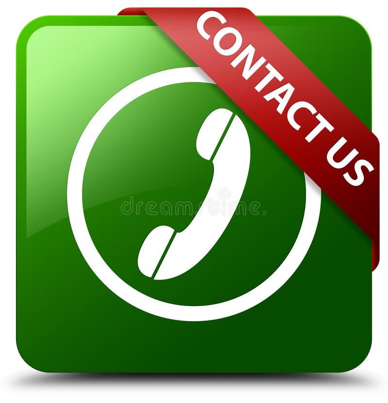 Свяжитесь мы кнопка квадрата зеленого цвета границы значка телефона круглая иллюстрация вектора