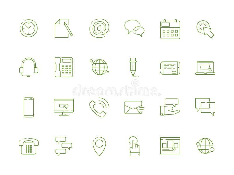 Свяжитесь мы набор значка Электронная почта телефона положения символов вебсайта линейная об изображениях дизайна вектора составл бесплатная иллюстрация