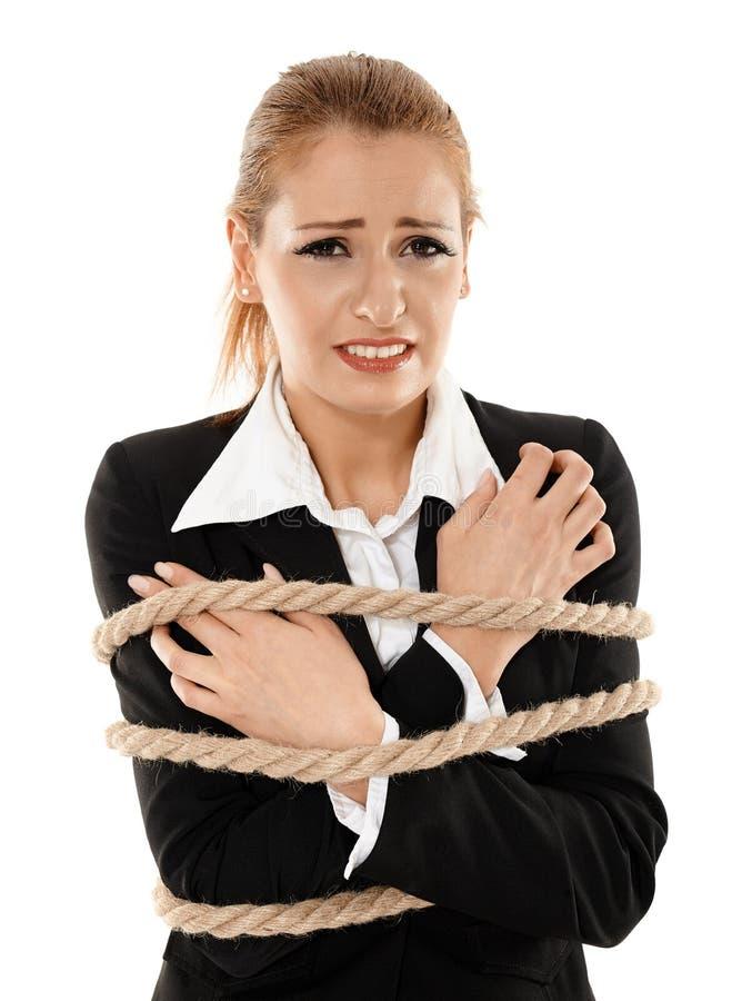 связанная веревочка коммерсантки стоковое изображение
