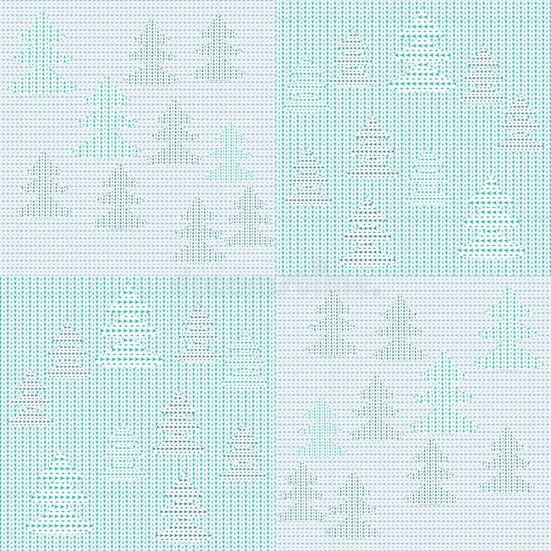 Связанная заплатка с предпосылкой вектора рождества леса зимы иллюстрация штока