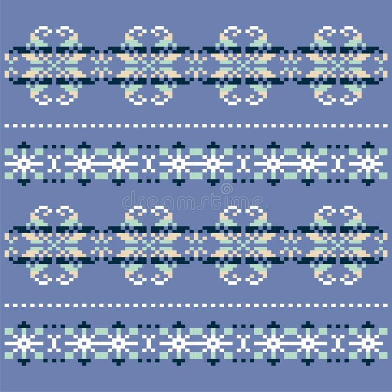 Связанная зимой голубая белая картина снежинки Дизайн свитера рождества Традиционная скандинавская картина для knit иллюстрация штока