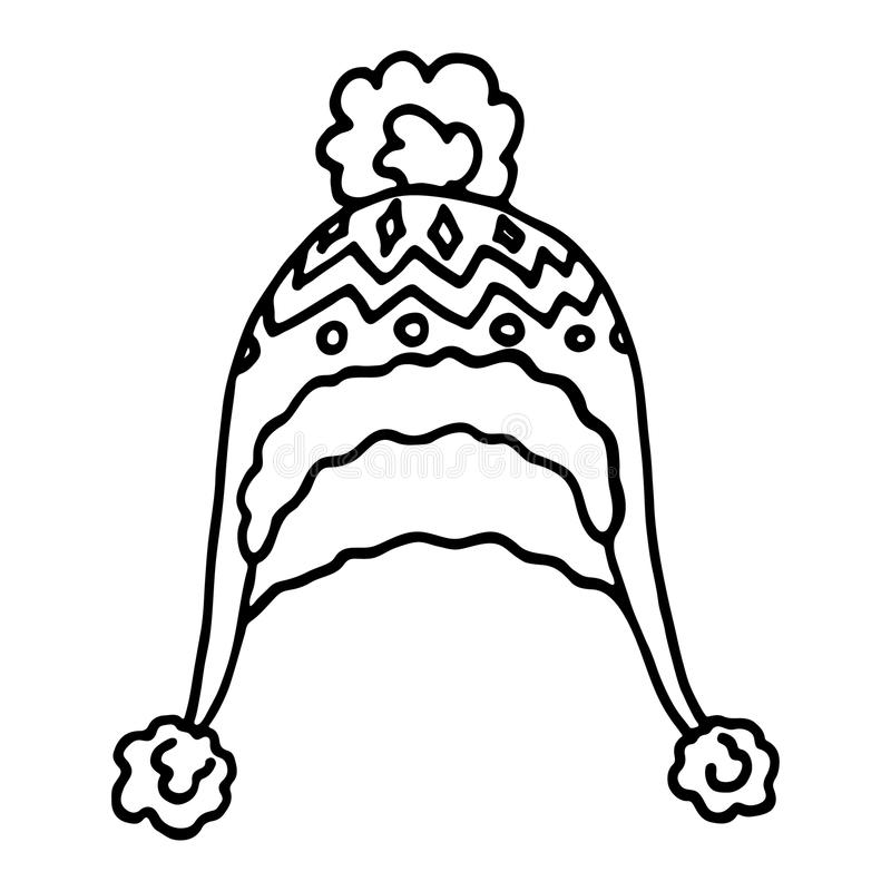 Связанная крышка зимы на белой предпосылке иллюстрация вектора
