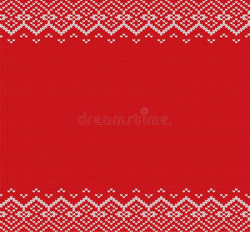 Связанная предпосылка рождества Красный и белый геометрический орнамент Дизайн текстуры свитера зимы knit Xmas иллюстрация вектора