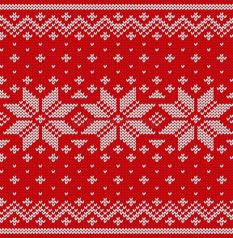Связанная скандинавская текстура Картина рождества Knit безшовная V иллюстрация штока