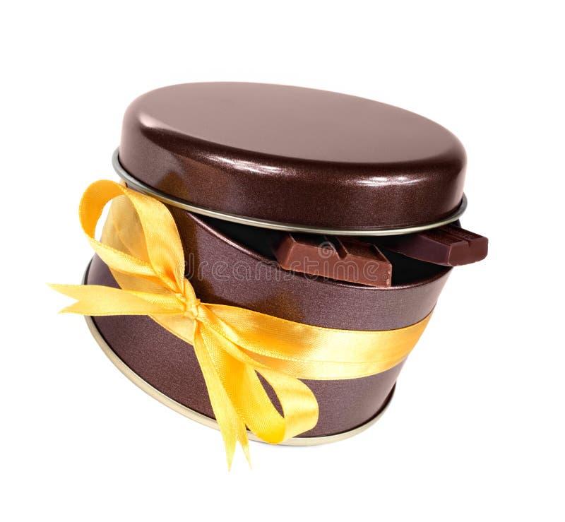 связанная тесемка шоколада коробки штанг стоковое изображение