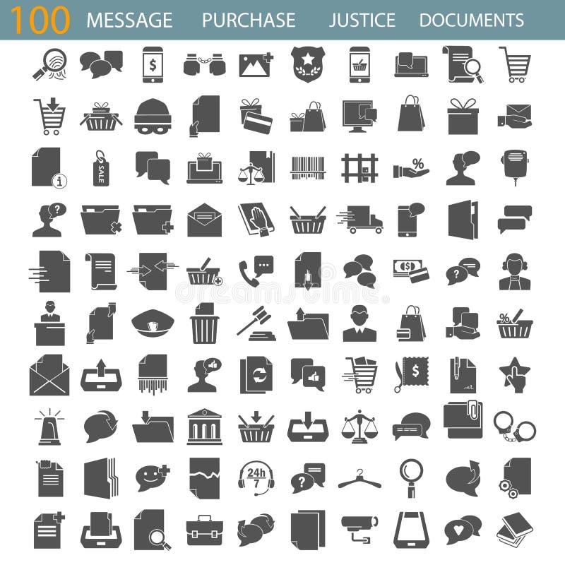 Связанное сообщение Закон и правосудие Онлайн приобретение Набор значков управления документов простой бесплатная иллюстрация