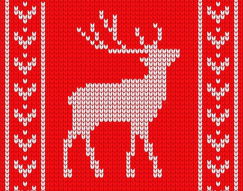 Связанные олени с картинами на сторонах в стиле связанного свитера иллюстрация вектора