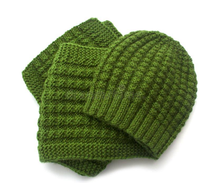 Связанные шарф и шлем стоковое изображение