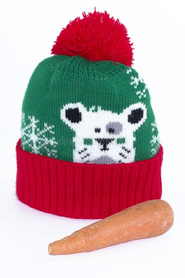 Связанные шляпа и моркови Набор снеговика стоковая фотография rf