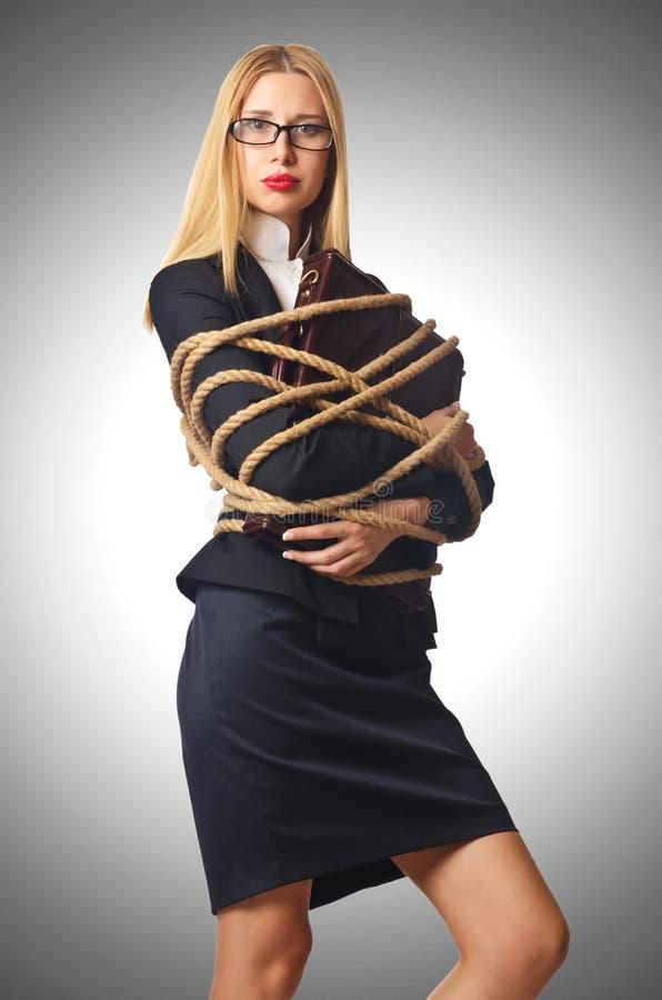 Связанный бизнесмен женщины стоковые изображения rf