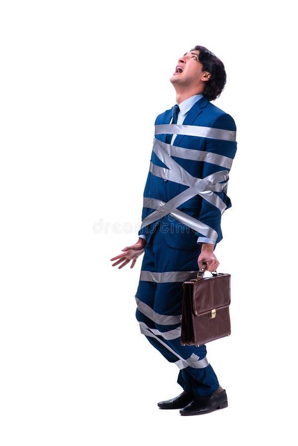 Связанный красивый бизнесмен изолированный на белизне стоковые фотографии rf