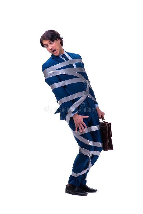 Связанный красивый бизнесмен изолированный на белизне стоковое изображение rf