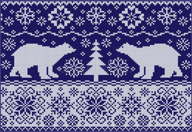 Связанный орнамент с медведями иллюстрация вектора