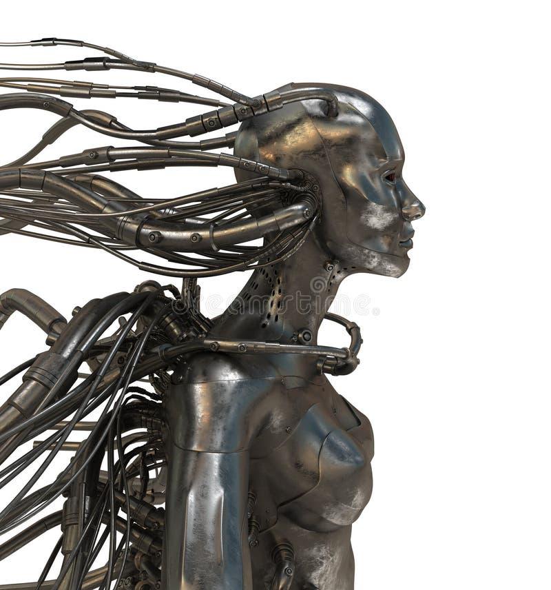 связанный проволокой человек cyber иллюстрация вектора