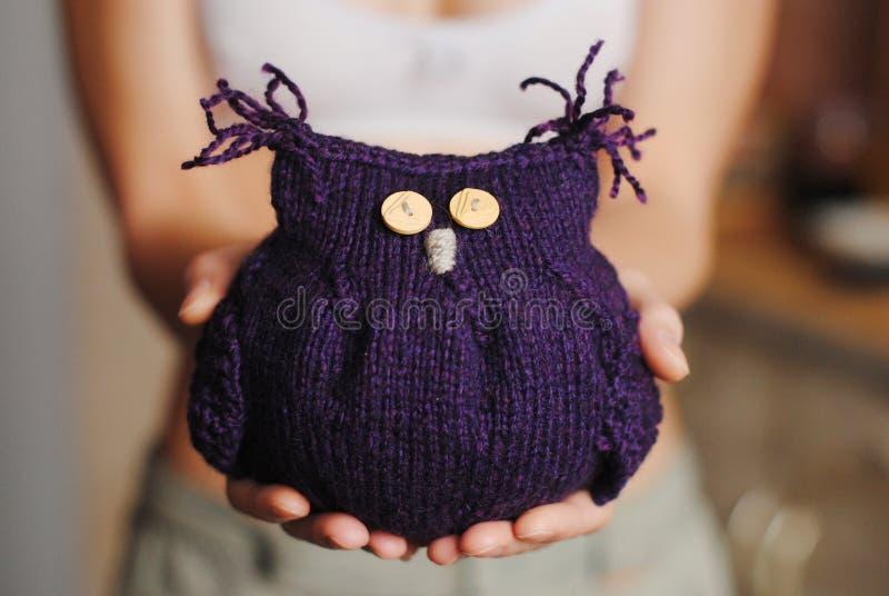 Связанный сыч игрушки фиолетовый в руках стоковая фотография