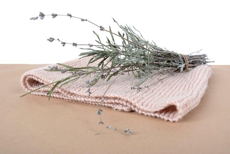 Связанный шарф biege и пук лаванды r стоковое фото rf