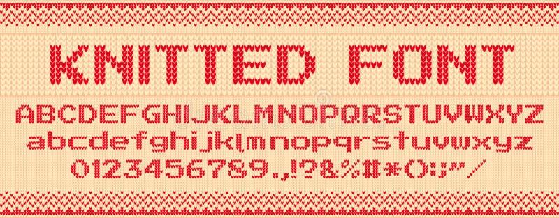 Связанный шрифт Свитер рождества некрасивый, вяжет письма и фольклорный набор иллюстрации вектора шаблона текста xmas свитеров иллюстрация вектора