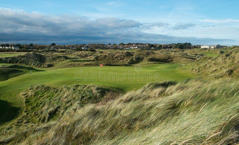 Связи играют в гольф отверстие равенства 3 в отставая свете с травой дунутой ветром стоковая фотография