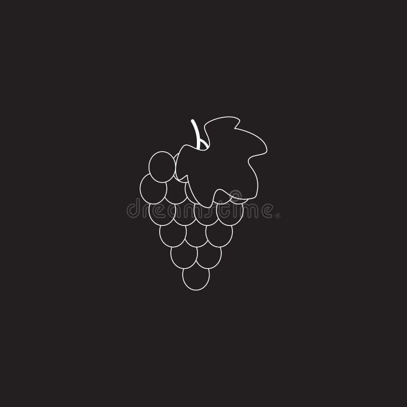 Связка винограда со значком вектора лист плоским для приложений и вебсайтов еды бесплатная иллюстрация