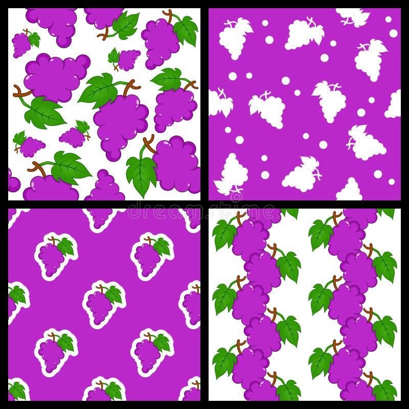 Связка винограда установленные картины безшовные иллюстрация вектора