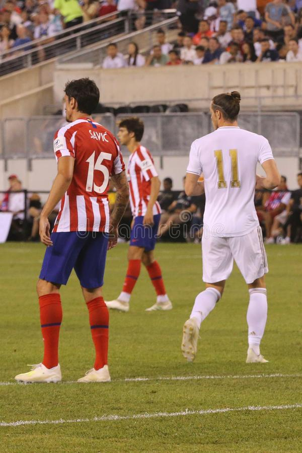 Связка Gareth Real Madrid #11 в действии во время спички против Atletico de Мадрида в чашке 2019 международной чемпионов стоковое фото