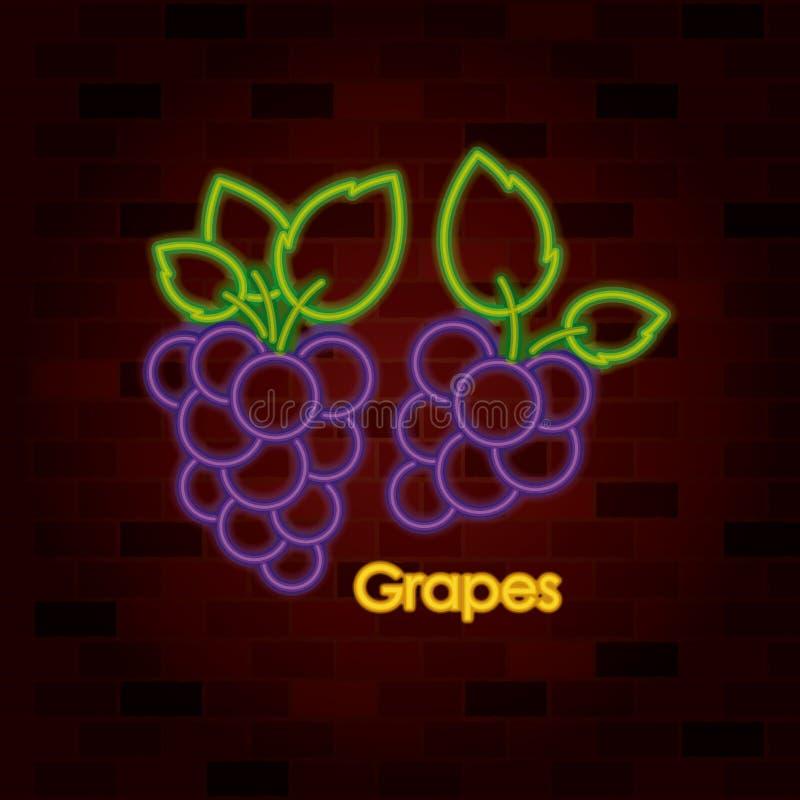 Связки винограда на неоновой вывеске на кирпичной стене иллюстрация штока