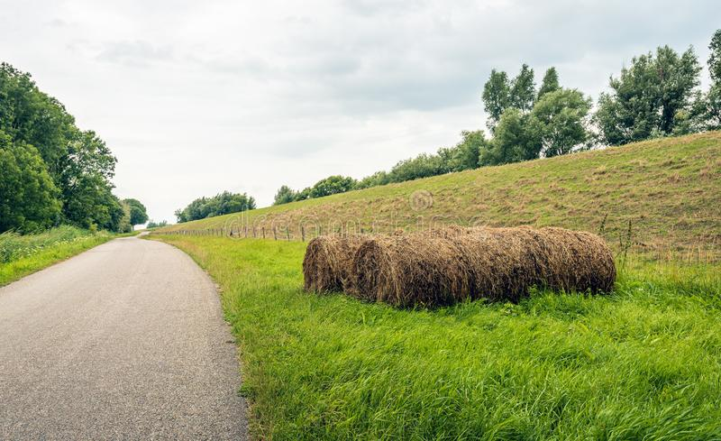 Связки сена на обочине проселочной дороги стоковое фото
