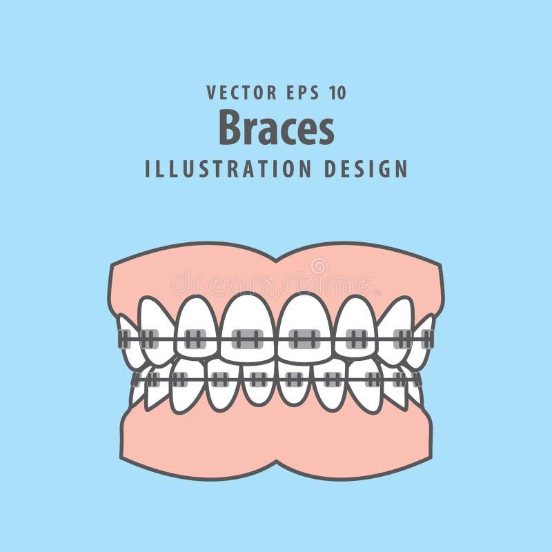 Связывает вектор иллюстрации teethfull на голубой предпосылке Denta иллюстрация вектора