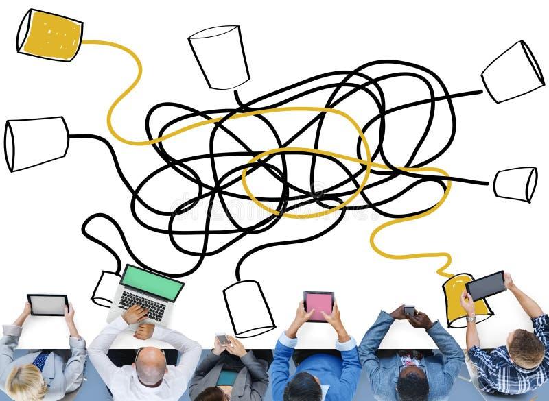 Связывайте соединение радиосвязи связи вызывая c иллюстрация вектора