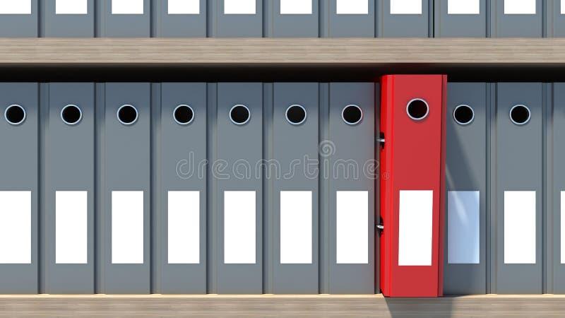 Связыватели файла офиса на полке архитектурноакустически иллюстрация штока