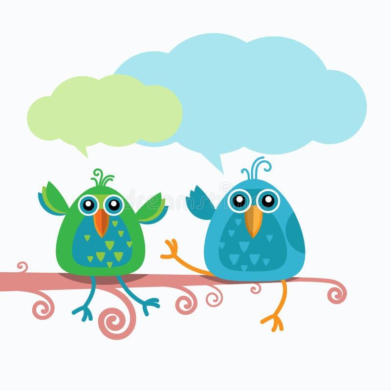 Связь болтовни 2 птиц сидя на ветви иллюстрация вектора